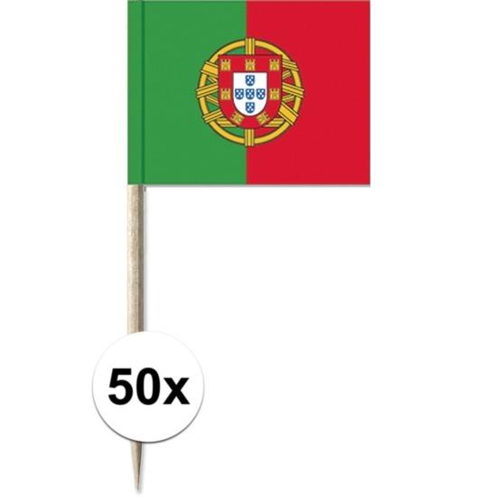 50x Cocktailprikkers Portugal 8 cm vlaggetje landen decoratie