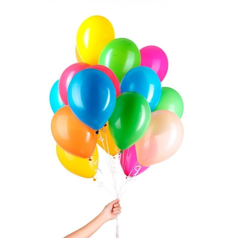 50x Gekleurde heliumballonnen met lint
