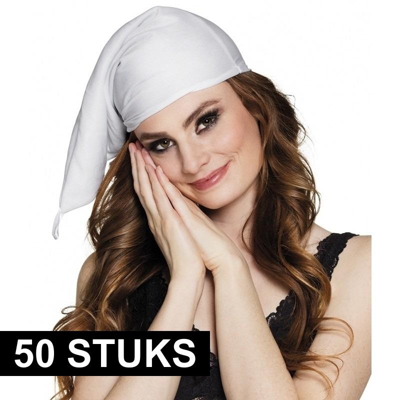 50x stuks witte slaapmutsen voor volwassenen