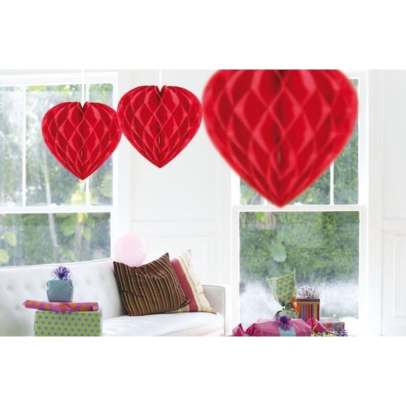 5x Hangende hartjes deco bollen rood 30 cm