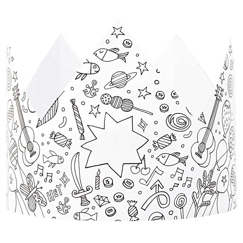 5x Knutsel papieren kroontjes om in te kleuren voor kinderen