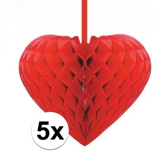 5x Rode decoratie hartjes versiering 15 cm