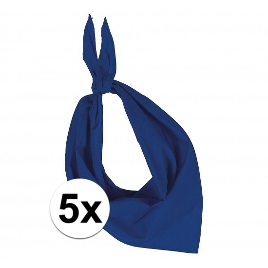 5x Zakdoek bandana kobalt blauw