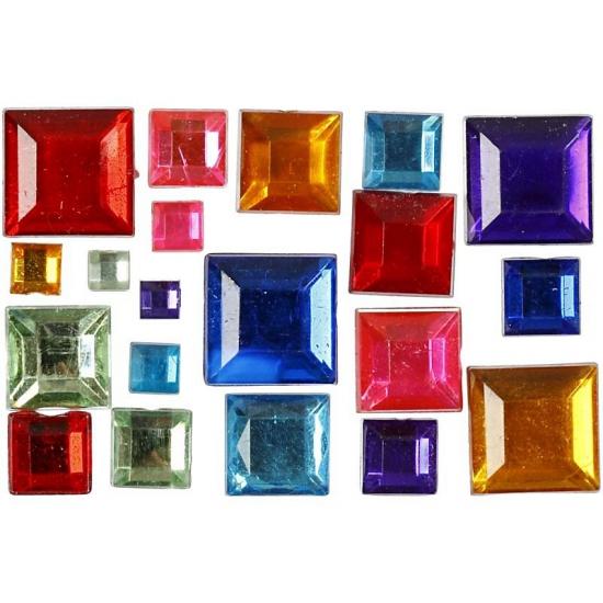 60x stuks gekleurde strasstenen 4-10 mm vierkant