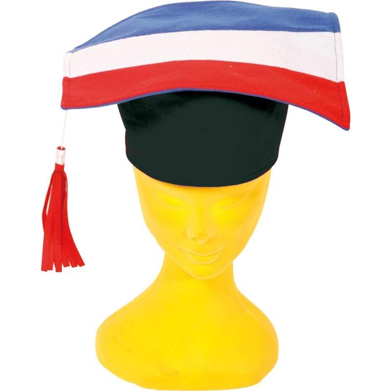 6x Afstudeerhoedjes/doctoraal geslaagd hoeden rood/wit/blauw