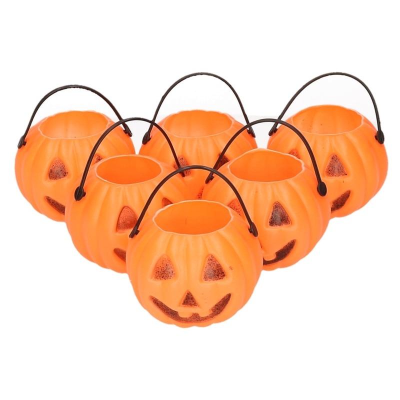 6x Halloween pompoen emmers 5 cm