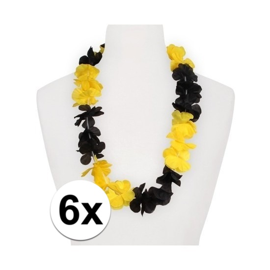 6x Hawaii slinger geel/zwart