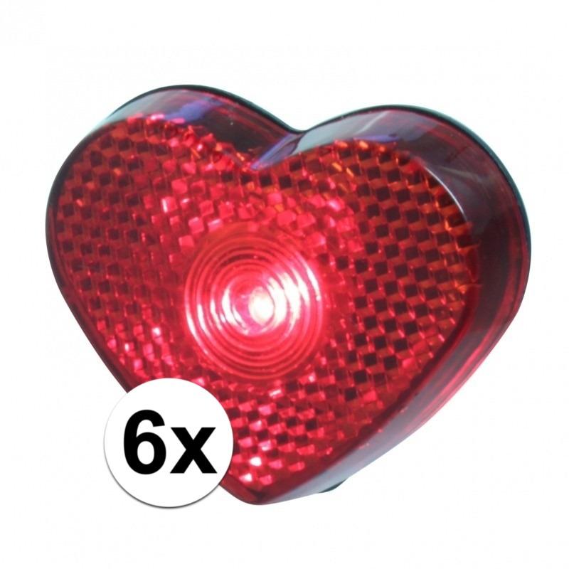 6x LED hartjes lampjes op clip 5 cm
