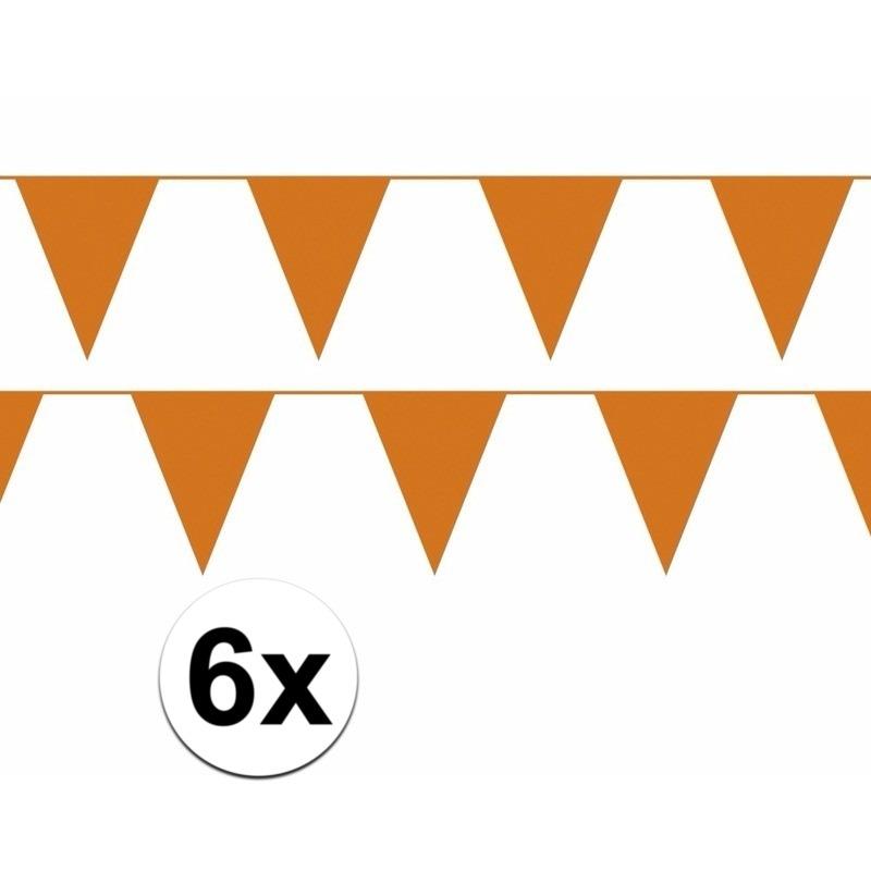 6x oranje WK versiering slinger 10 meter