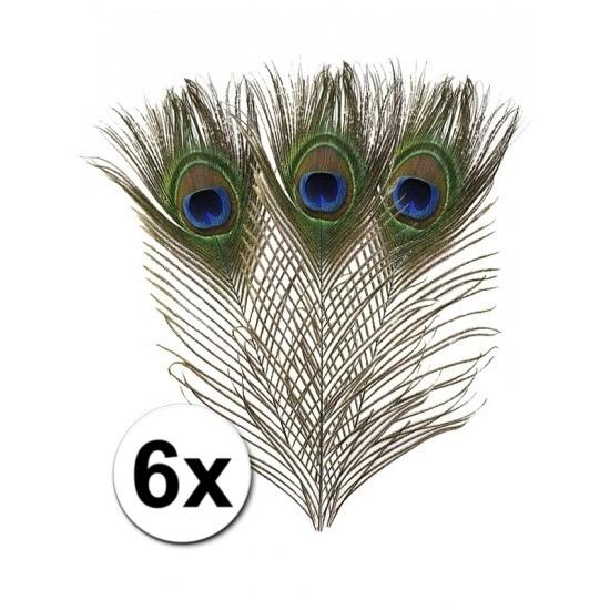 6x Pauwen veren