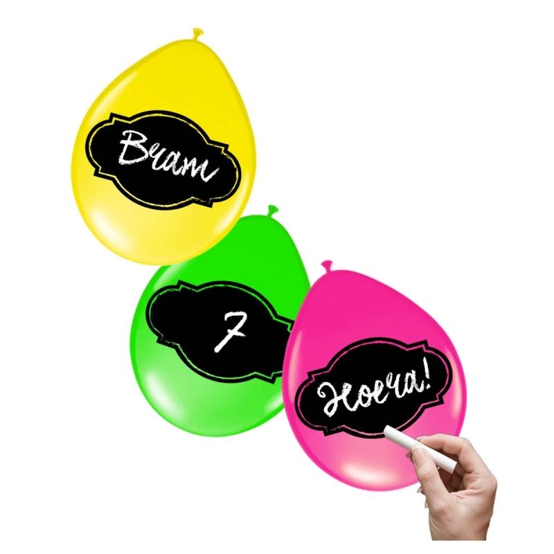 6x stuks Neon kleur ballonnen beschrijfbaar met krijtjes