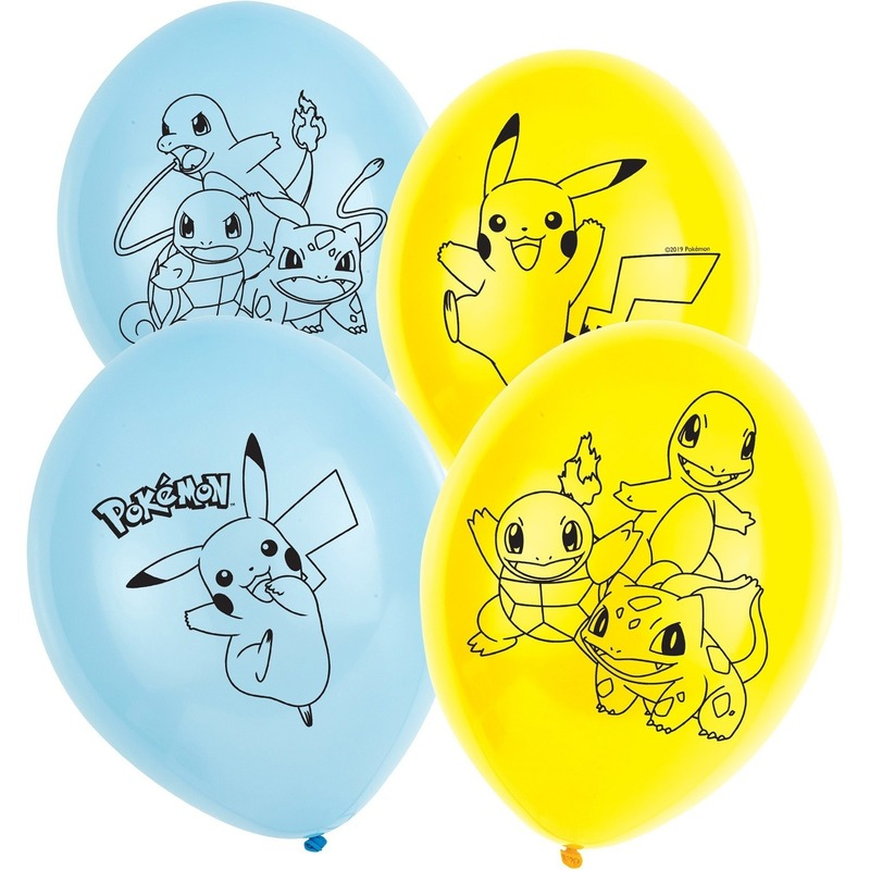 6x stuks Pokemon thema feest/verjaardag ballonnen 28 cm
