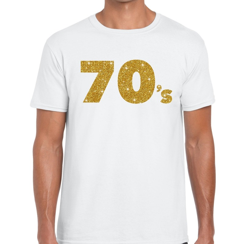 70's goud glitter tekst t-shirt wit heren