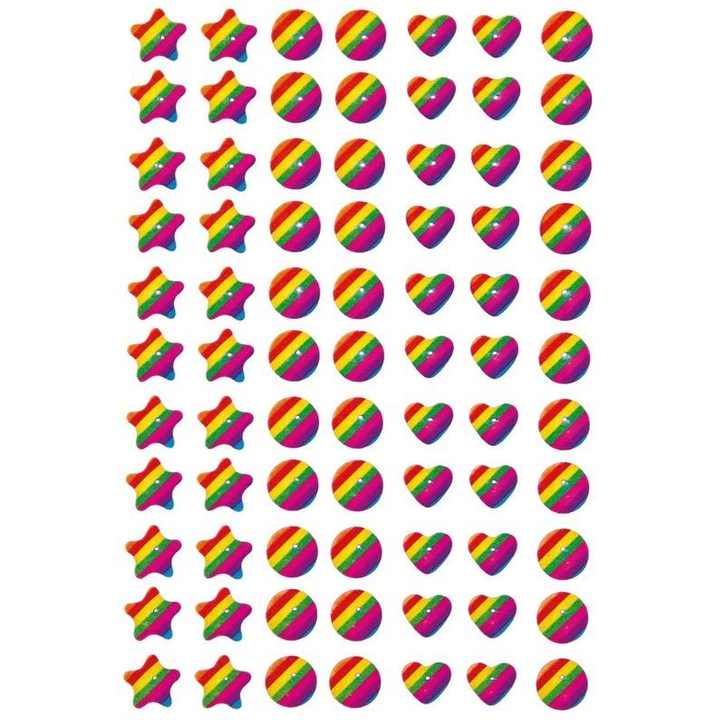 77x Regenboog figuren stickers met 3D effect met zacht kunststof