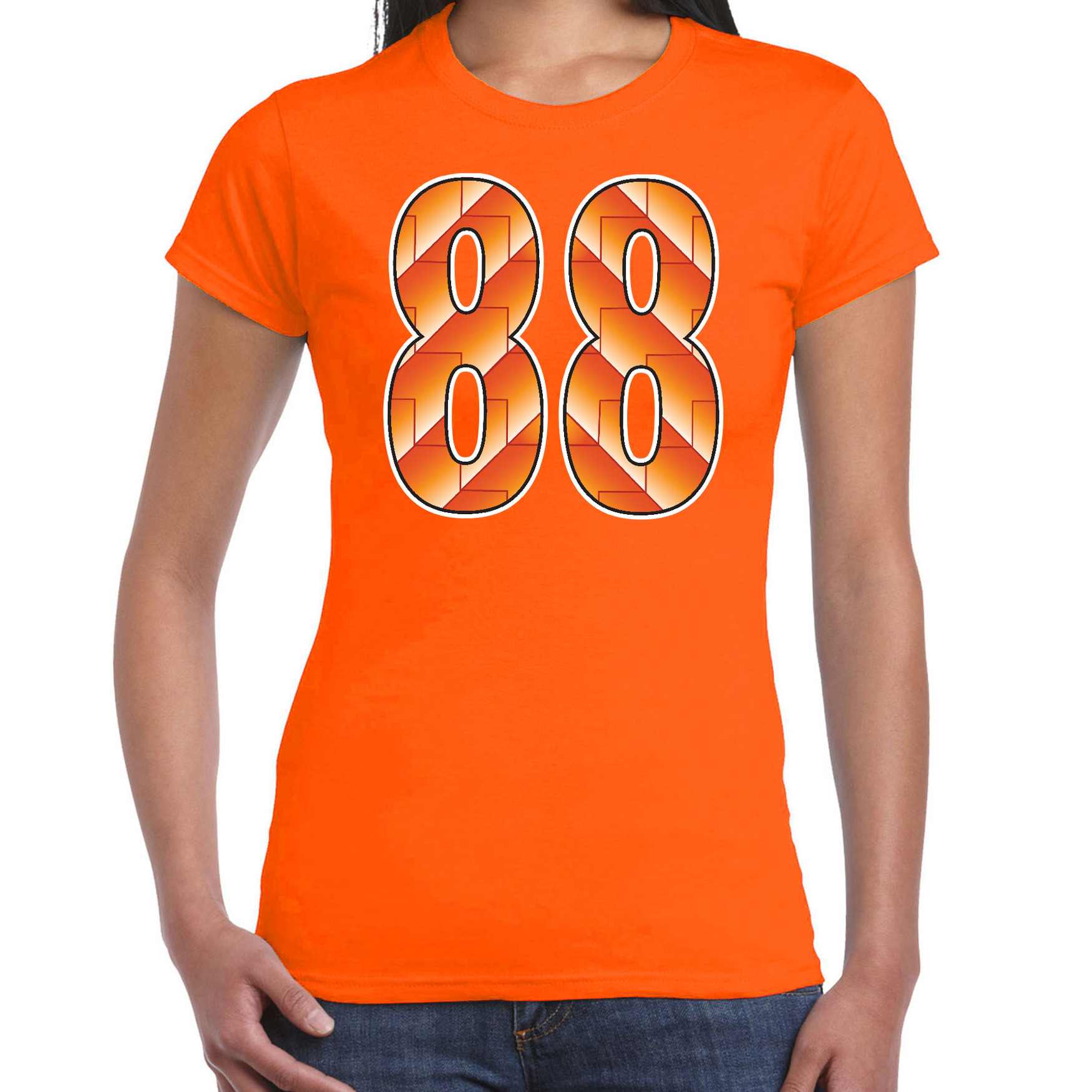 88 Holland supporter t-shirt oranje voor dames