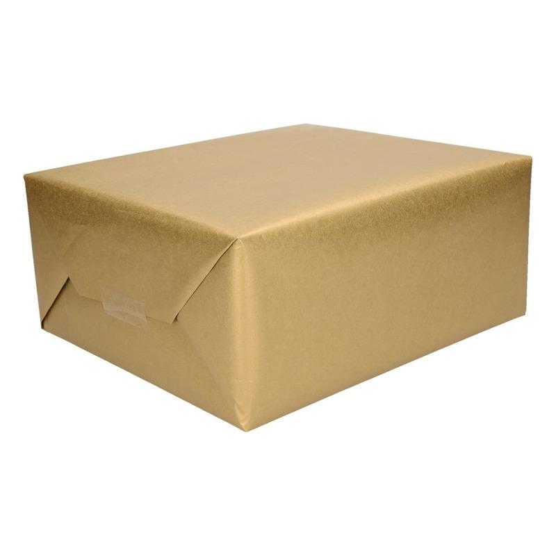 8x Cadeaupapier/inpakpapier goud 400 x 50 cm op rol