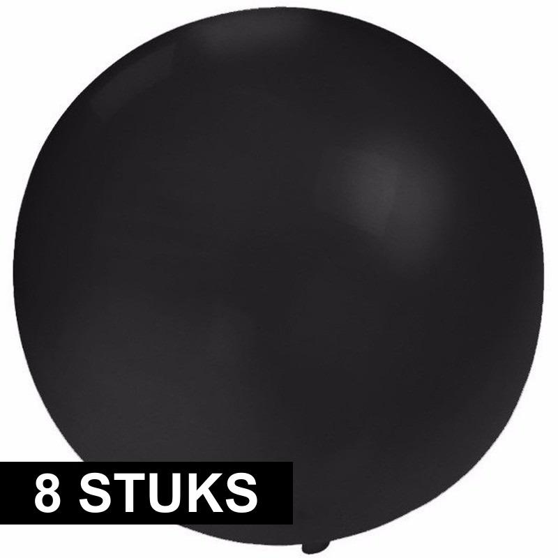8x Grote ballonnen 60 cm zwart