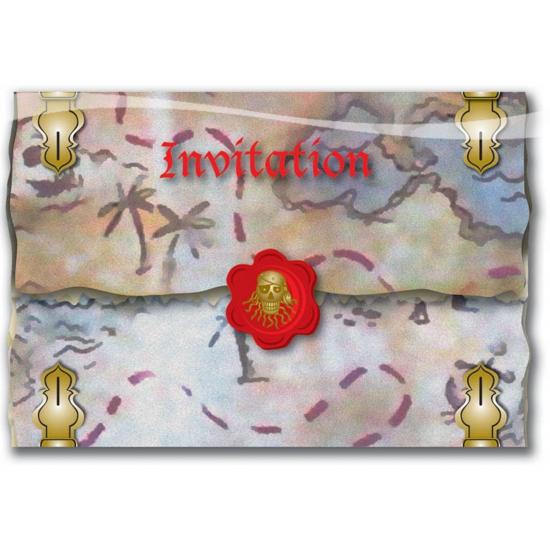 8x Piraten thema feestje uitnodigingen