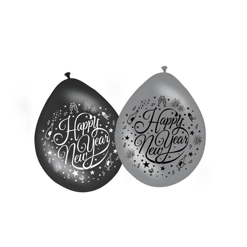 8x stuks Happy New Year ballonnen zwart/zilver