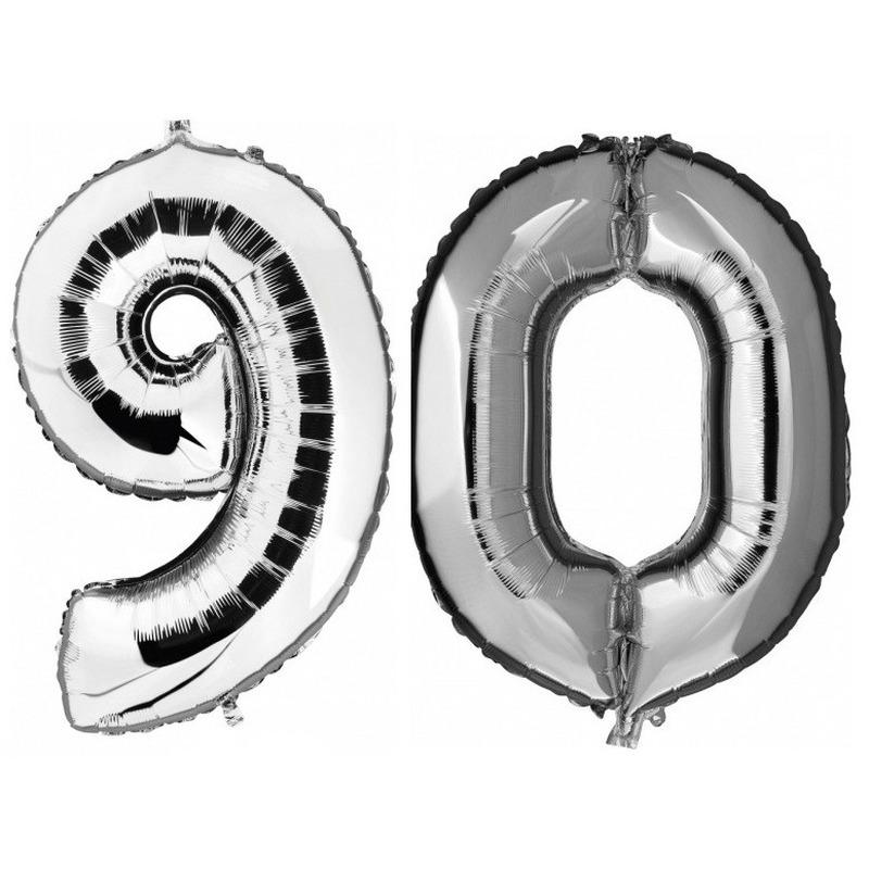 90 jaar zilveren folie ballonnen 88 cm leeftijd/cijfer