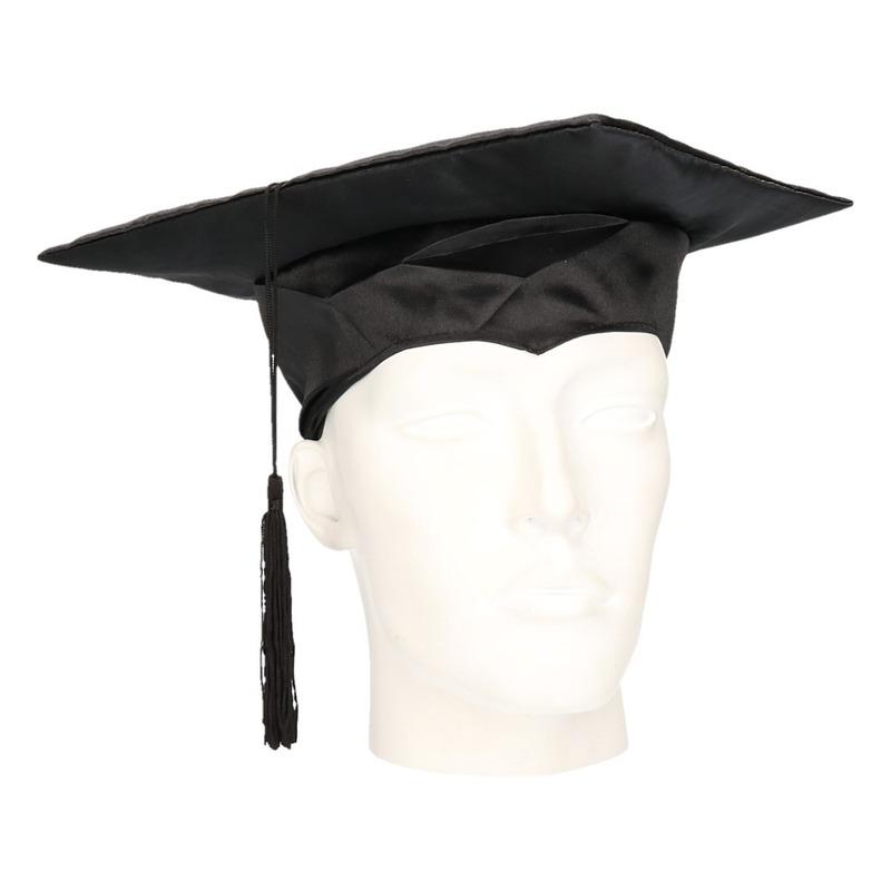 Afstudeer hoed zwart nylon voor volwassenen