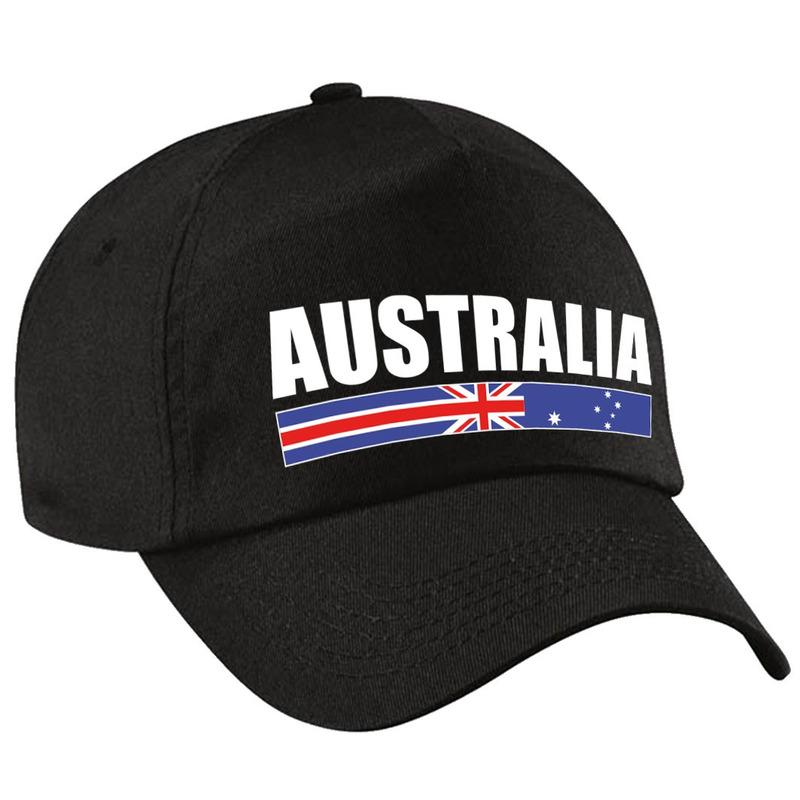 Australia supporter pet - cap Australie zwart kinderen