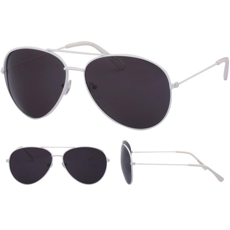 Aviator zonnebril wit met zwarte glazen voor volwassenen