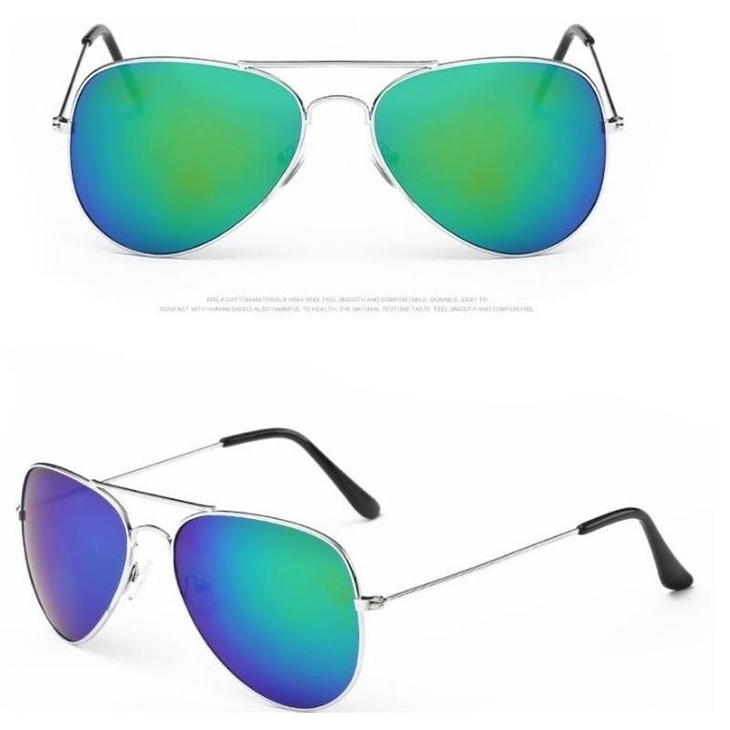 Aviator zonnebril zilver met blauw/groene glazen voor volwassene