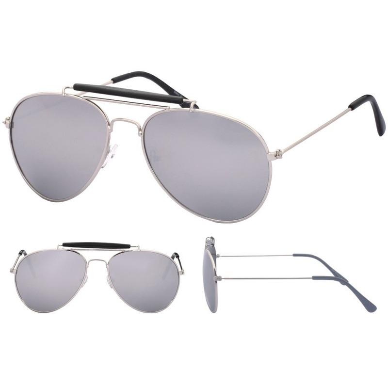 Aviator zonnebril zilver met spiegel glazen voor volwassenen