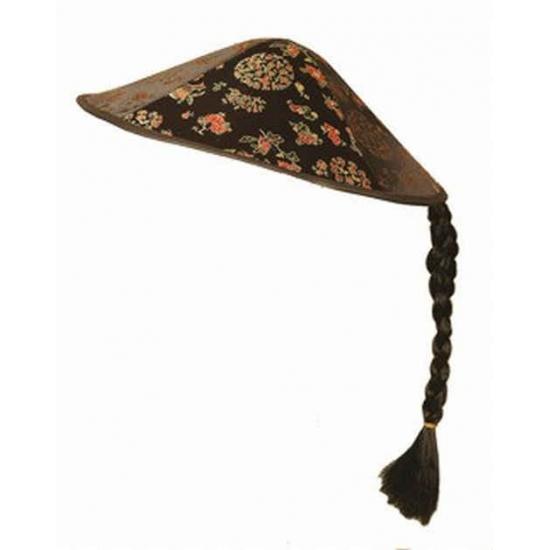 Aziatische hoed zwart met vlecht