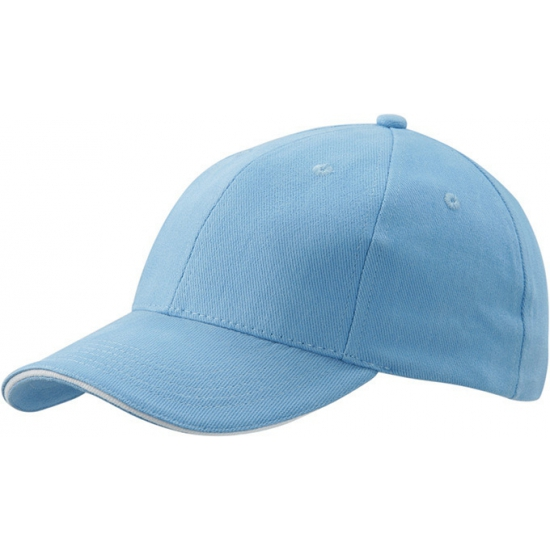 Baby blauwe baseball pet met witte rand