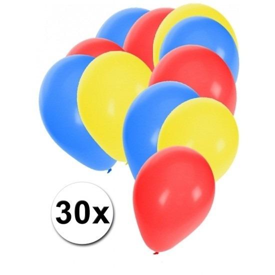 Ballonnen pakket blauw-rood-geel