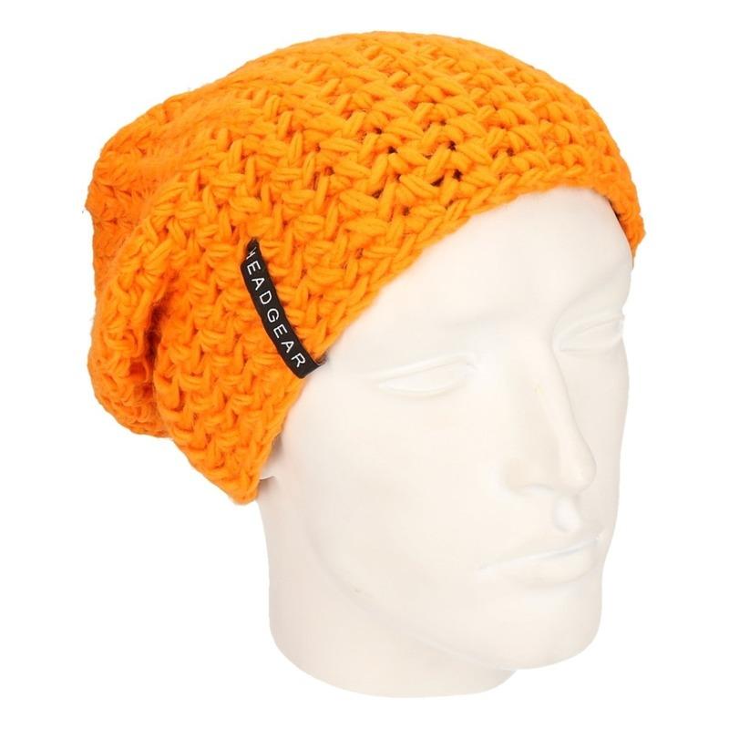 Basic beanie muts oranje voor heren