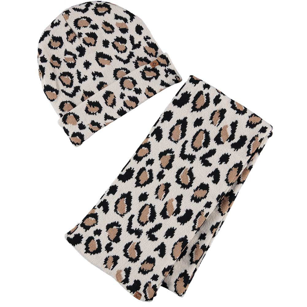Beige/bruine panterprint/luipaardprint meisjes winter accessoires set muts/sjaal