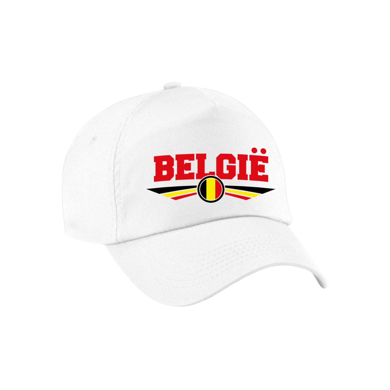 Belgie landen pet wit - baseball cap volwassenen