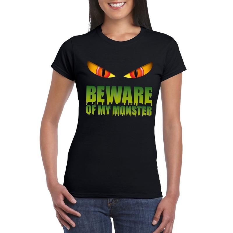 Beware of my monster Halloween t-shirt zwart dames