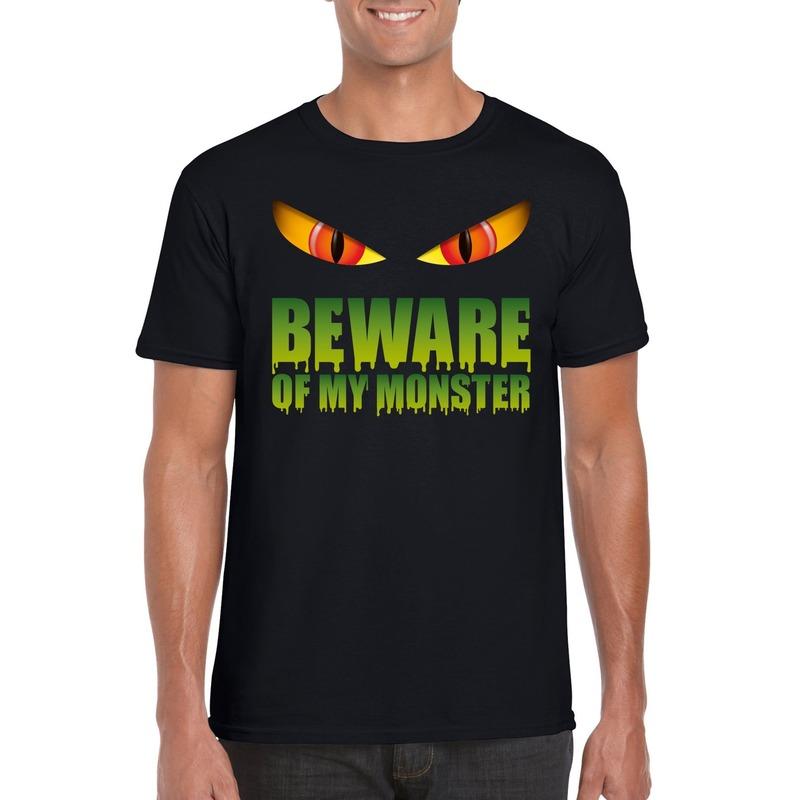 Bellatio Decorations Beware of my monster Halloween t-shirt zwart heren