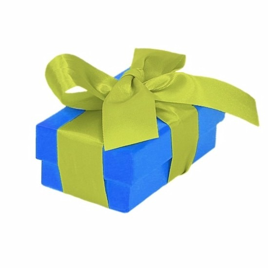 Blauw cadeaudoosje 8 cm met lichtgroene strik