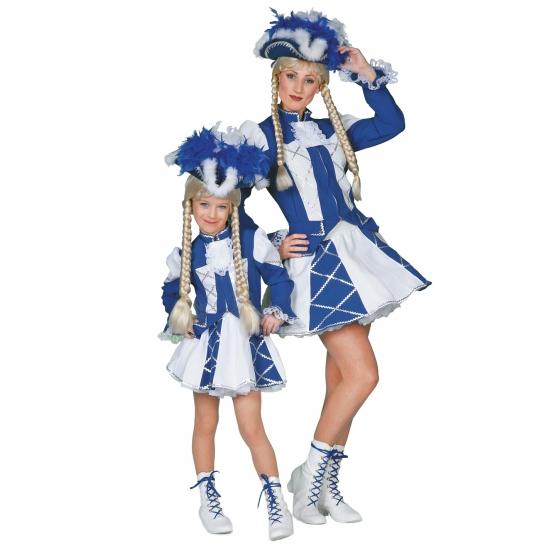 Blauw cheerleader rokje met jas voor meiden