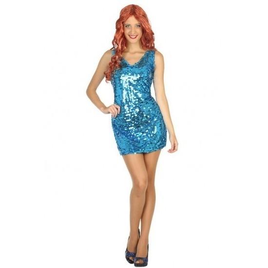 Blauw disco verkleed jurkje met pailletten voor dames