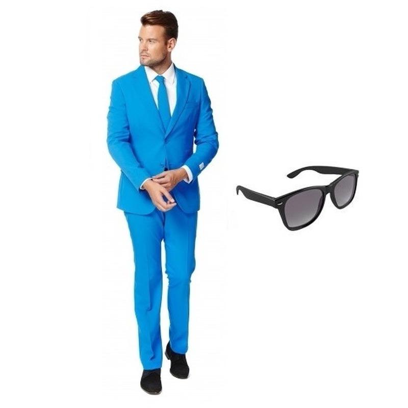 Blauw heren kostuum maat 50 (L) met gratis zonnebril