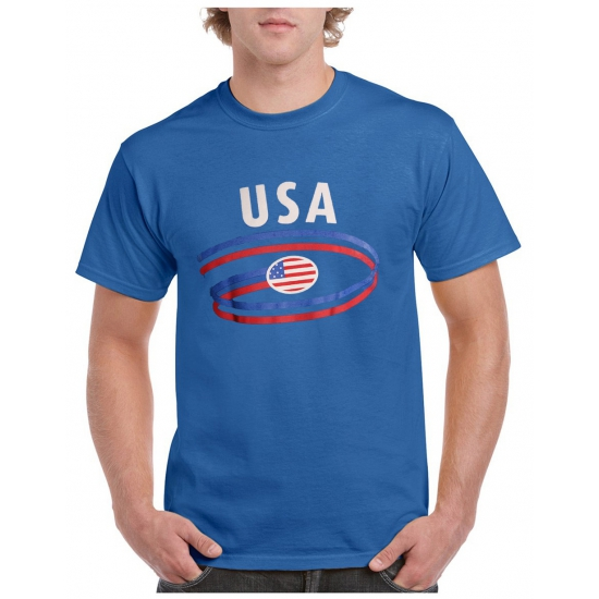 Blauw heren t-shirt USA print