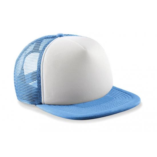 Blauw met witte vintage kinder baseball cap