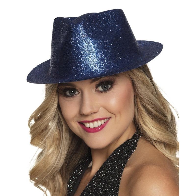 Merkloos Blauw trilby hoedje met glitters voor dames