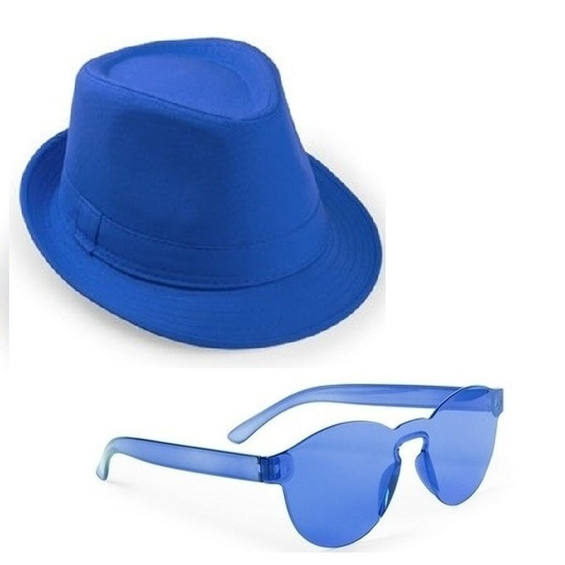 Blauw trilby party hoedje met blauwe zonnebril