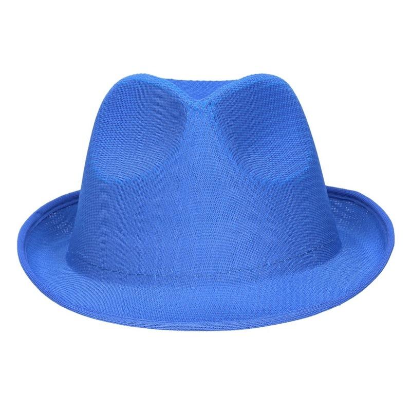 Blauw trilby verkleed hoedje/gleufhoed voor volwassenen