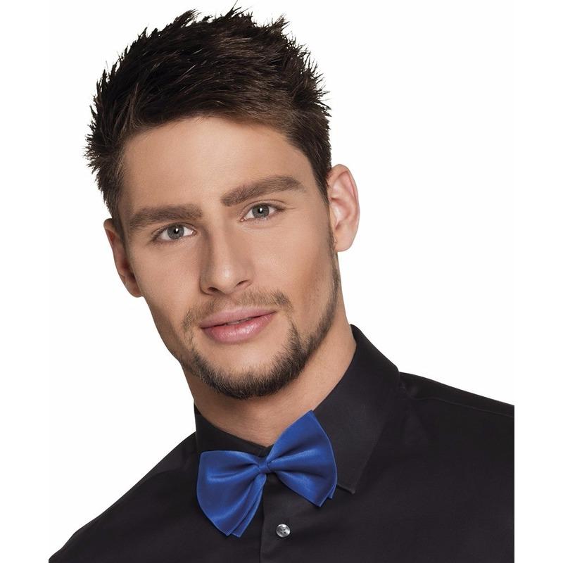 Blauw verkleed vlinderstrikje 11 cm voor dames/heren