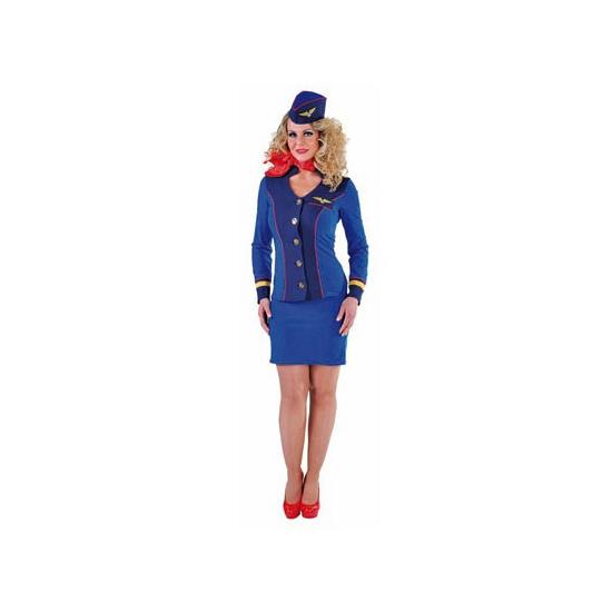 Blauw vliegtuighostess uniform met rode details