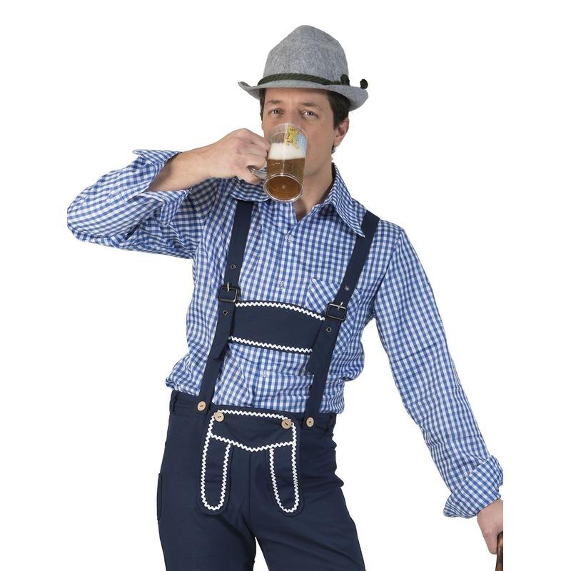 Blauw/wit geruit tiroler verkleed overhemd voor heren
