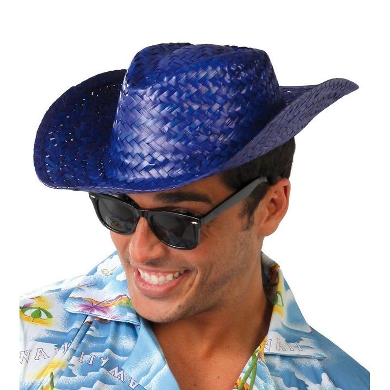 Merkloos Blauwe cowboy/strohoed voor volwassenen